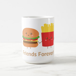Mug Hamburger et fritures mignons, amis pour toujours