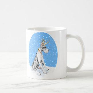 Mug Harlequin de Noël de renne de great dane