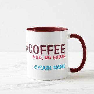 Mug Hashtag a personnalisé, avec votre choix de
