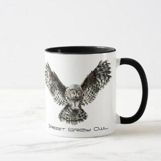 Mug Hibou de grand gris d'aquarelle, oiseau de nature