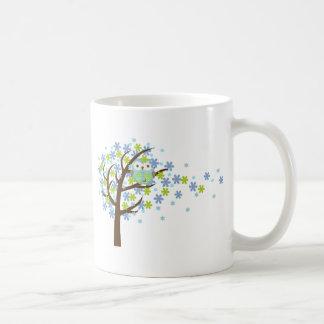Mug Hibou venteux bleu d'arbre