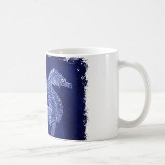 Mug hippocampes côtiers de bleu d'océan d'amant de