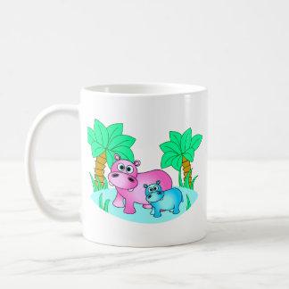 Mug Hippopotames mignons maman et natation de bébé