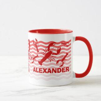 Mug Homards rouges dans les vagues rouges, amusement