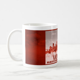 Mug Horizon de Vancouver avec la grunge rouge