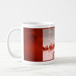 Mug Horizon d'Ottawa avec la grunge rouge