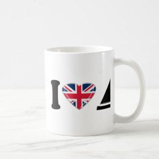 Mug I bateaux à voile de coeur avec Union Jack