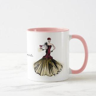 Mug Illustration de mode de Noël avec le colis
