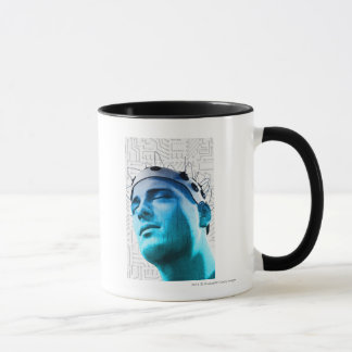 Mug Illustration d'un homme utilisant un casquette des