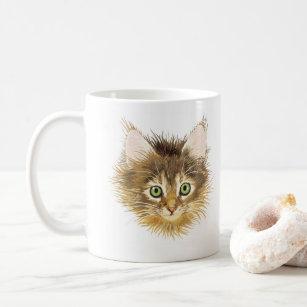 Mug Illustration Kitten or Cute Cat Head - Vector