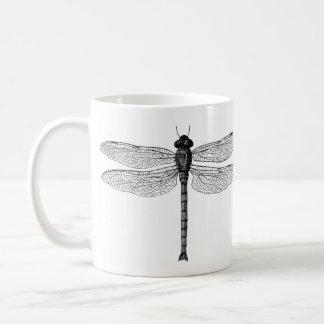 Mug Illustration noire et blanche vintage de libellule
