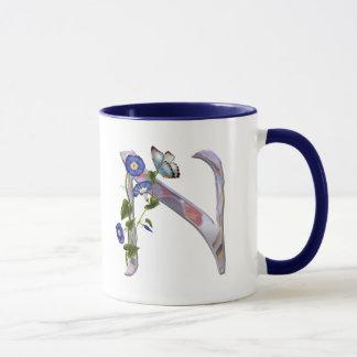 Mug Initiale précieuse N de papillon