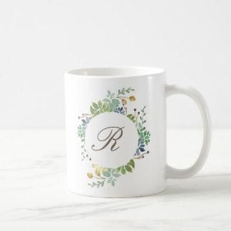 Mug Initiale succulente de l'aquarelle | de jardin
