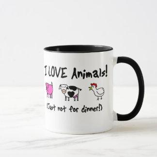 Mug J'aime des animaux végétariens