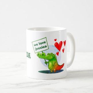 Mug j'aime la bande dessinée drôle de crocodile doux