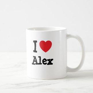 Mug J'aime la coutume de coeur d'Alex personnalisée
