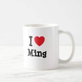 Mug J'aime le T-shirt de coeur de Ming