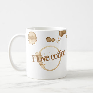 Mug J'aime le texte grunge de café avec des taches de