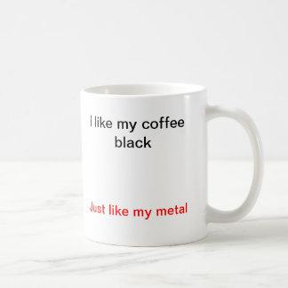 Mug J'aime mon noir de café, juste comme mon métal