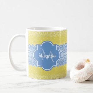 Mug Jaune et motif bleu-clair de Knit avec le