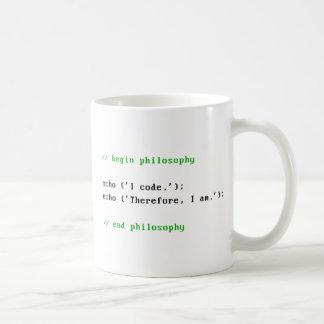 Mug Je code. Par conséquent, je suis. La philosophie