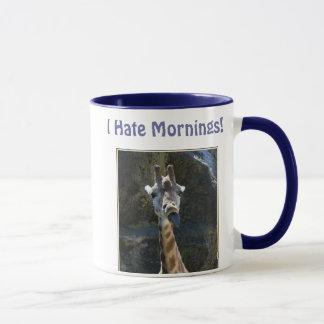 Mug Je déteste des matins, girafe collant la langue