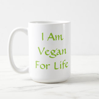 Mug Je suis végétalien pendant la vie. Vert. Slogan.