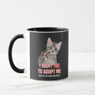 Mug Je veux que Yout m'adopte au service d'adoption de