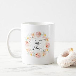 Mug Jeune mariée florale d'aquarelle couleur pêche à