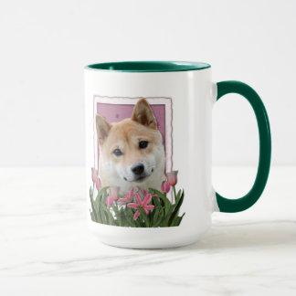 Mug Jour de mères - tulipes roses - Shiba Inu