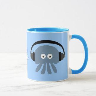Mug Juste méduses bleues de Chillin avec des écouteurs