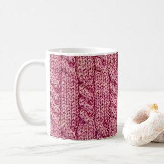 Mug Knit câblé par fil rose