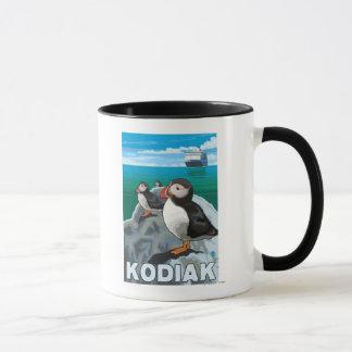 Mug Kodiak, AlaskaPuffins et bateau de croisière