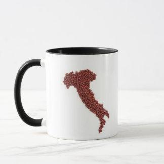 Mug La carte de l'Italie a fait des haricots rouges