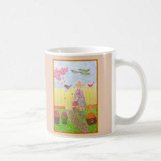 Mug La fille dans son jardin au début de l'automne