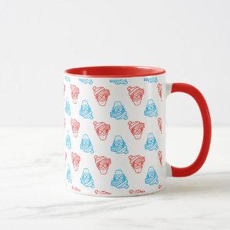 Mug Là où est le motif rouge et bleu de Waldo de