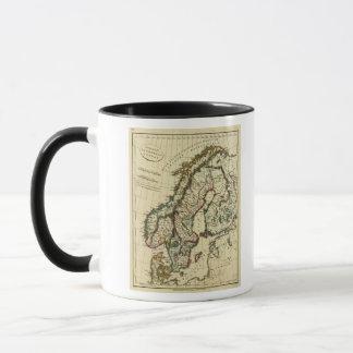Mug La Suède, Danemark, Norvège avec des frontières