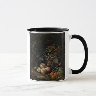 Mug La vie toujours avec le fruit, le feuillage et les