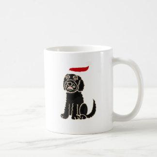 Mug Labradoodle noir drôle dans l'art de Noël de