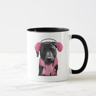 Mug Labrador noir avec des manchons d'oreille