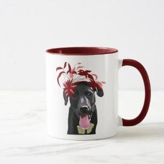 Mug Labrador noir avec Fascinator rouge