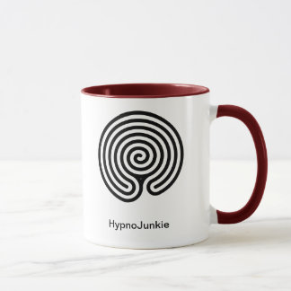 Mug Labyrinthe rouge et blanc de drogué d'hypnose de