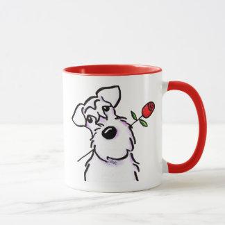 Mug L'amoureux blanc de Schnauzer s'est levé