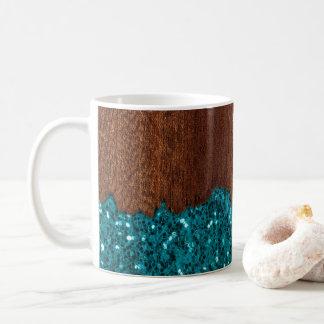 Mug Le bleu d'Aqua miroite bois brun rustique cassé