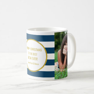 Mug Le bleu marine barre Noël de maman de photo d'or