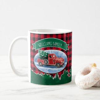 Mug Le camion vintage de Noël ajoutent le nom