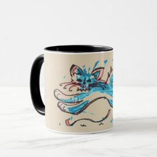 Mug le chat de l'eau saute à travers l'arrière - plan