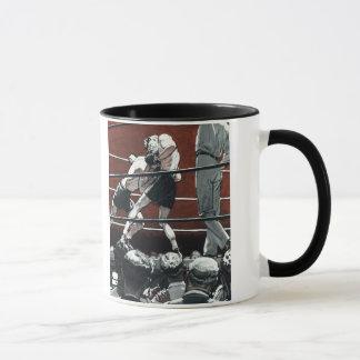 Mug Le cru folâtre la boxe, combat de boxeurs dans