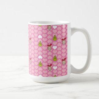 Mug Le motif rose de coeur de Grinch et de Cindy-Lou