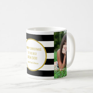 Mug Le noir barre Noël de maman de photo d'or meilleur